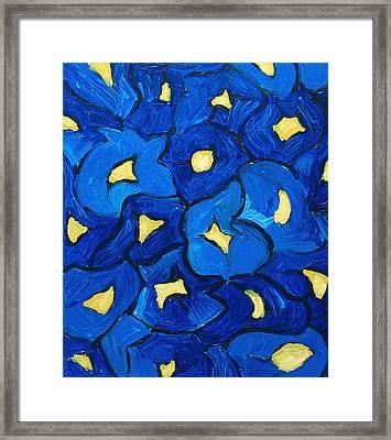 Blue Iris Bouquet Pattern Framed Print by Kazuya Akimoto