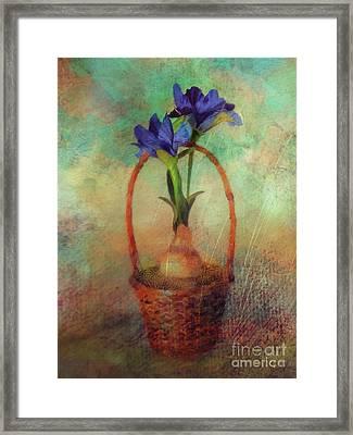 Framed Print featuring the digital art Blue Iris In A Basket by Lois Bryan