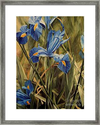 Framed Print featuring the painting Blue Iris by Laurie Rohner