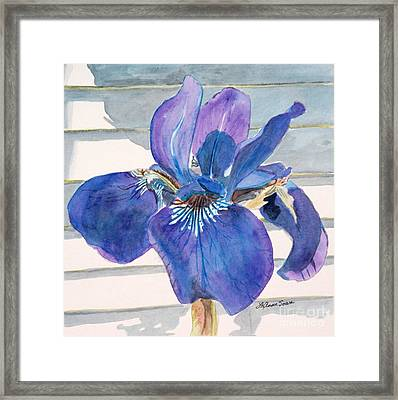 Framed Print featuring the painting Blue Iris by LeAnne Sowa