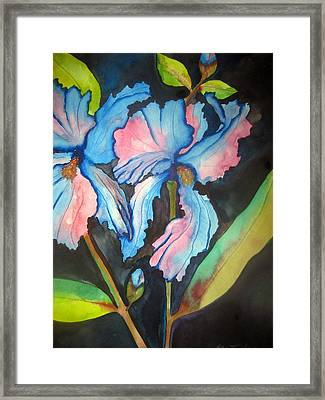 Framed Print featuring the painting Blue Iris by Lil Taylor