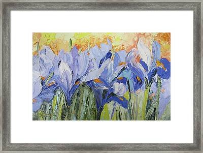 Blue Irises Palette Knife Painting Framed Print