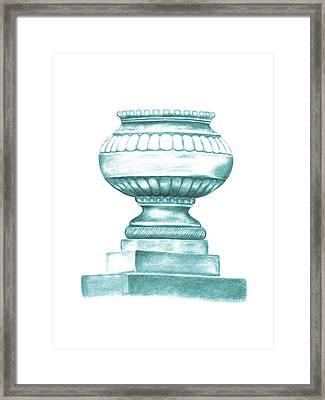 Framed Print featuring the digital art Blue Jardiniere  by Elizabeth Lock
