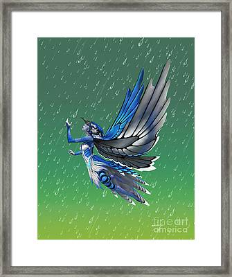 Framed Print featuring the digital art Blue Jay Fairy by Stanley Morrison