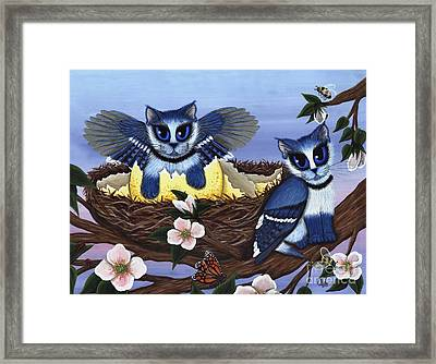 Framed Print featuring the painting Blue Jay Kittens by Carrie Hawks
