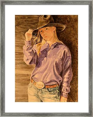 Blue Jean Cowgirl Framed Print