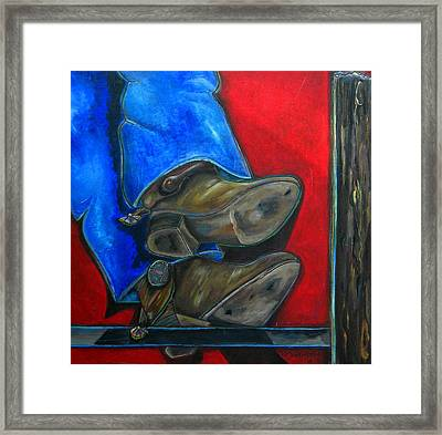 Blue Jeans And Boots Framed Print