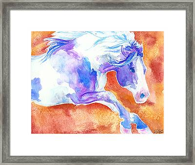 Framed Print featuring the painting Blue Jumping Paint by Jenn Cunningham