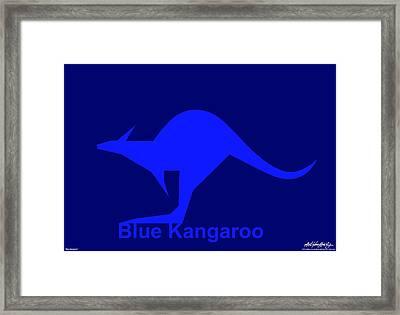 Blue Kangaroo Framed Print by Asbjorn Lonvig