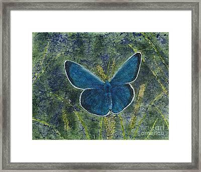 Blue Karner Butterfly Watercolor Batik Framed Print