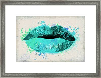 Blue Kiss Watercolor Framed Print
