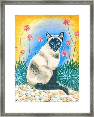 Blue Kitty Framed Print by George I Perez