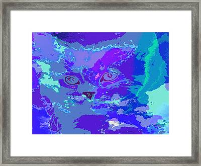 Framed Print featuring the digital art Blue Kitty by Lola Connelly
