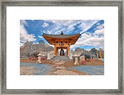 Blue Korean Bell Garden Framed Print