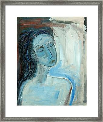 Blue Lady Abstract Framed Print by Maggis Art