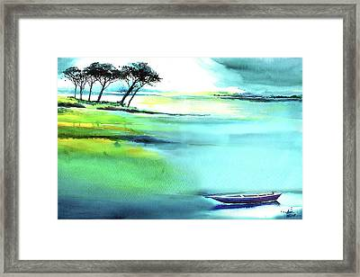 Framed Print featuring the painting Blue Lagoon by Anil Nene