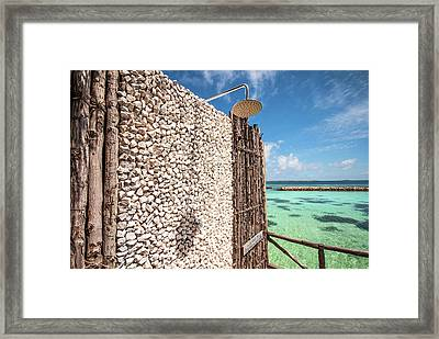 Framed Print featuring the photograph Blue Lagoon View by Jenny Rainbow