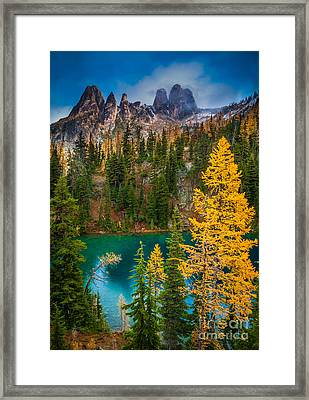 Blue Lake And Early Winter Spires Framed Print by Inge Johnsson
