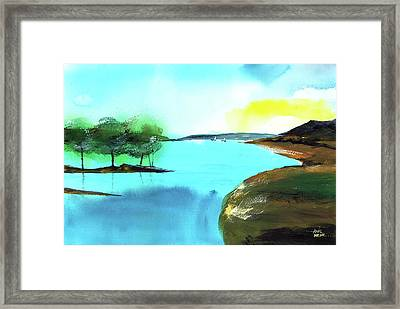 Framed Print featuring the painting Blue Lake by Anil Nene