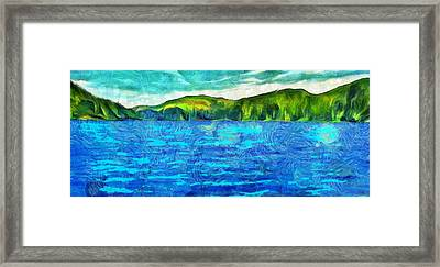 Blue Lake Green Land Framed Print by Dan Sproul