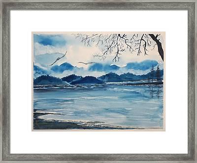 Blue  Landscape Framed Print by Yuliya Schuster