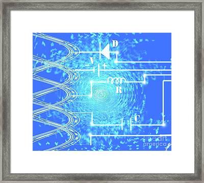 Blue Light Pulse Circuit Framed Print by Artist Nandika Dutt