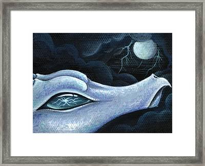 Blue Lightning Framed Print by Elaina  Wagner