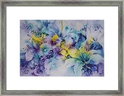 Blue-lilies Framed Print by Nancy Newman