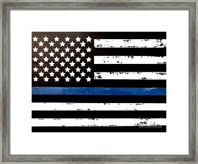 Framed Print featuring the painting Blue Line Flag by Denise Tomasura