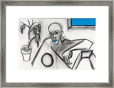 Blue Lips 24x36 Framed Print