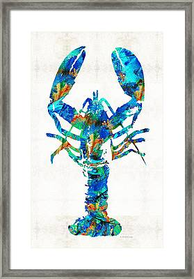 Blue Lobster Art By Sharon Cummings Framed Print by Sharon Cummings