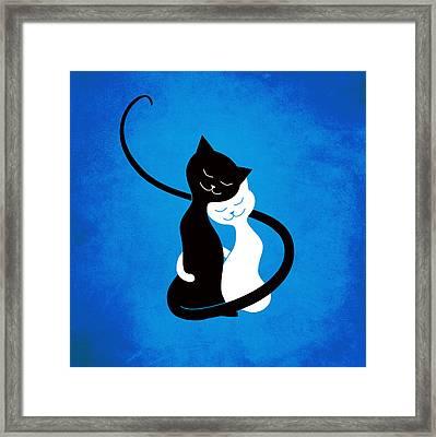 Blue Love Cats Framed Print by Boriana Giormova