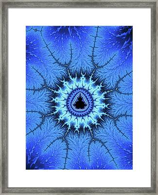 Framed Print featuring the digital art Blue Mandelbrot Fractal Relaxing And Balanced by Matthias Hauser