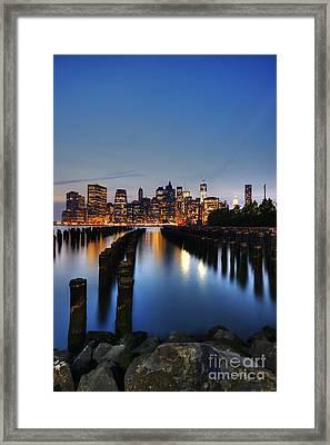 Blue Manhattan Framed Print by Andrew Paranavitana