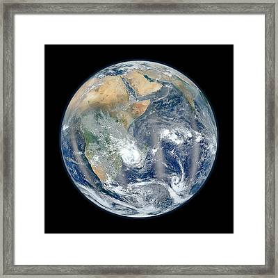 Blue Marble 2012 - Eastern Hemisphere Of Earth Framed Print by Nikki Marie Smith