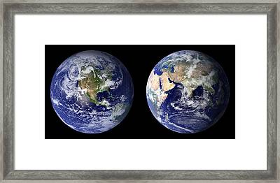 Framed Print featuring the pyrography Blue Marble by Artistic Panda