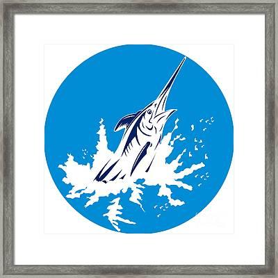 Blue Marlin Circle Framed Print by Aloysius Patrimonio