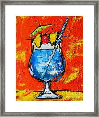 Blue Martini - Hawaiian Style - Tropical Drink Framed Print by Patricia Awapara