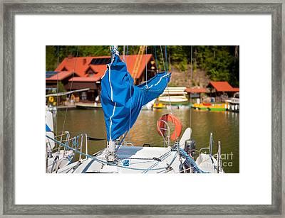Blue Mast Covering Sheath Foreground Framed Print by Arletta Cwalina