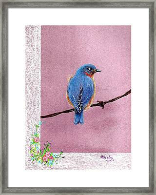 Framed Print featuring the drawing Blue by Mike Ivey