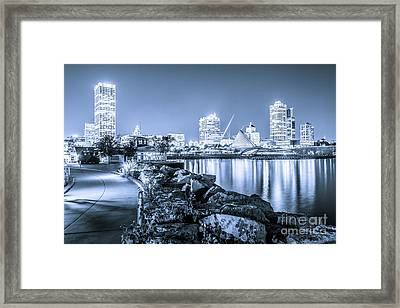 Blue Milwaukee Skyline At Night Picture Framed Print by Paul Velgos