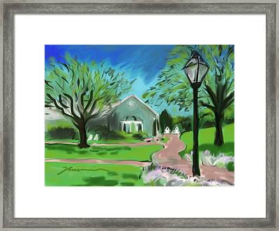 Blue Mist Cottage Chatham Bars Inn Framed Print by Jean Pacheco Ravinski