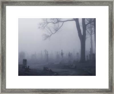 Blue Misted Fog Creeps In Framed Print