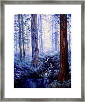 Blue Misty Morning In The Redwoods Framed Print by Laura Iverson
