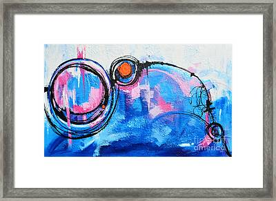 Blue Modern Abstract Original Acrylic Painting Framed Print by Patricia Awapara