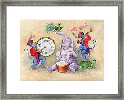 Framed Print featuring the painting Blue Monkeys Circus by Lora Serra