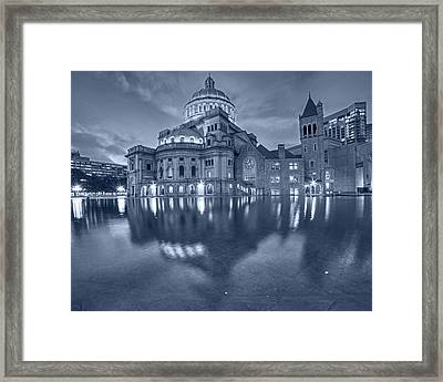 Blue Monochrome Boston Christian Science Building Reflecting Pool Framed Print