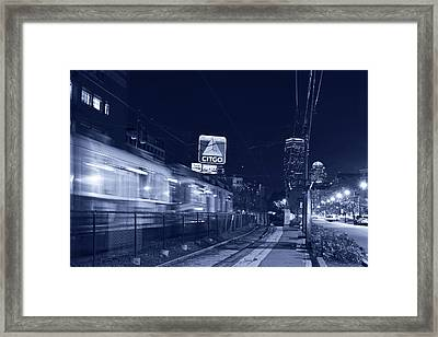 Blue Monochrome Boston Ma Green Line Train On The Move Framed Print by Toby McGuire