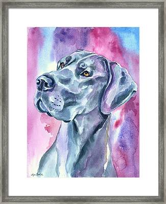 Blue Mood - Great Dane Framed Print by Lyn Cook