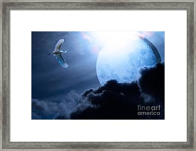 Blue Moon - 7d12372 Framed Print by Wingsdomain Art and Photography